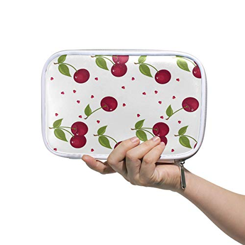 Bardic Pen Pencil Case Cute Cherry Pattern Makeup Brush Bag Travel Organizer Cosmetic Pouch Passport Holder for Men Women