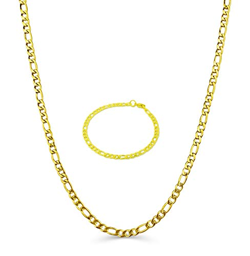 BLING CULTURE Life Time Warranty 4mm Gold Figaro Chain Made in USA,30x Thicker Gold 20 24,30in (24, Yellow-Gold 4mm) ()
