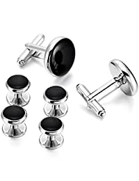MOWOM Silver Gold Two Tone Black Rose Gold Rhodium Plated Enamel Cufflinks Stud Set Tuxedo