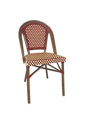 Table in a Bag CBCRW Faux Bamboo All-Weather Wicker Stackable Bistro Chair, Red with White Accents Review