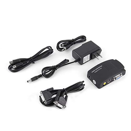 Composite Video TV RCA Composite S-Video AV in to PC VGA LCD Out Converter Adapter Switch Box Black US Plug(1) ()