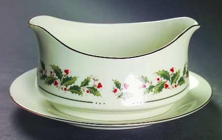 Holly Yuletide by JAPAN Holiday Gravy Boat with Attached Underplate Discontinued