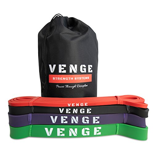 VENGE Performance Functional Fitness Bands Set of 4, Exercise Band Set, Mobility Bands Set for Strength Training and Rehab + Free Carry Bag by VENGE Performance (Image #1)