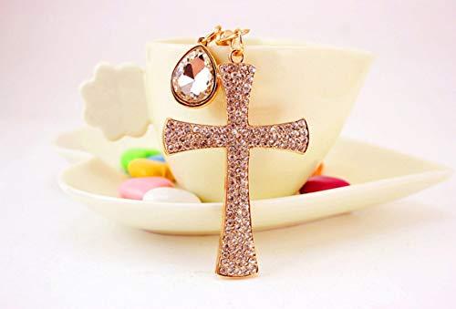 1 Pc Crystal Lucky Cross Purse Keychain Lovers Pendant Teen Wrist Wristlet Keys Hook Key Necklace Illustrious Popular Pocket Bag Car Keyrings