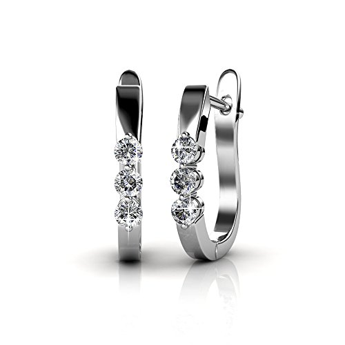 Cate & Chloe Lana Elegant 18k White Gold Plated Hoop Earrings with Swarovski Crystals, Triple Crystal Hoops for Women Set, Silver Round Earring Set, Wedding Anniversary Jewelry - MSRP $119