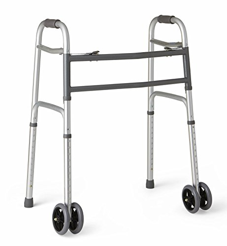 "Medline Heavy Duty Bariatric Folding Walker with 5"" Wheels with Durable Plastic Handles"