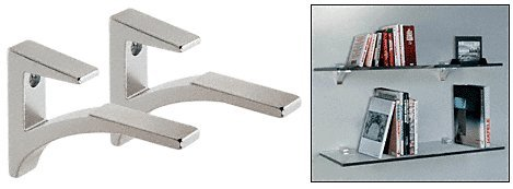 Aluminum Glass Shelf - CRL Chrome - Aluminum Glass Shelf Bracket for 3/8 to 1/2 glass