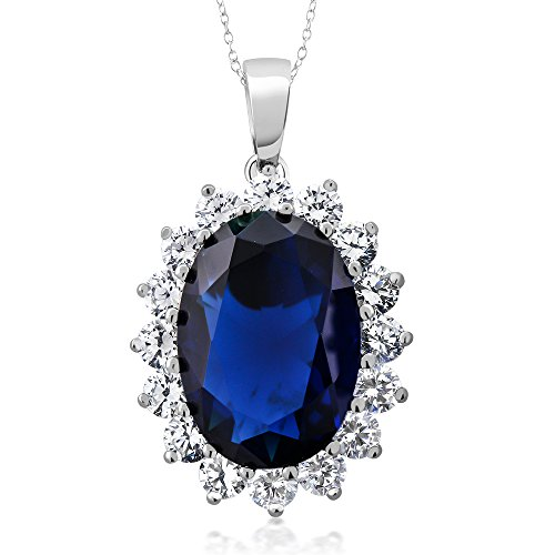 (Gem Stone King 925 Sterling Silver Blue Simulated Sapphire Pendant Necklace 13.00 Ct Oval 13X18MM with 18 Inch Silver Chain)