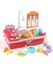 LIHAO Keukenspeelgoed, keukenaccessoires, set kinderen, spoelbak met accessoires, kinderwasbak, rollenspel, mini-keuken, speelkeuken als cadeau voor jongens en meisjes van 3 tot 6 jaar (herbruikbaar)