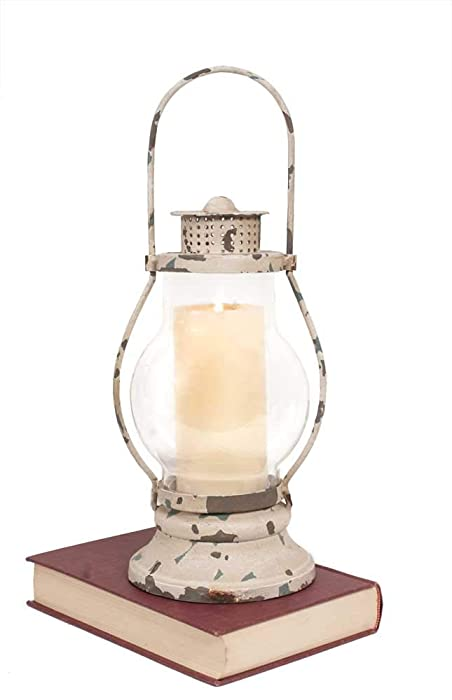 CTW 400007 Decorative Railway Lantern Candle Holder for Home Decor, Vintage Inspired Rustic Distressed Farmhouse Fixer Upper Style Metal Glass Multicolored