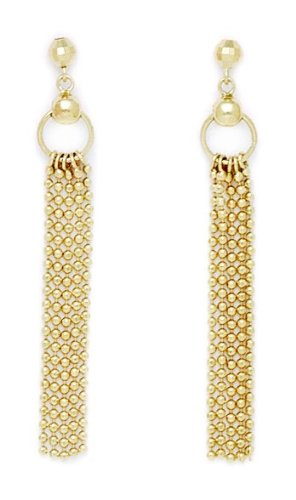 Strand Dangle Earrings Multi (14k Yellow Gold Multi Strand Dangling Earrings - Measures 40x5mm)