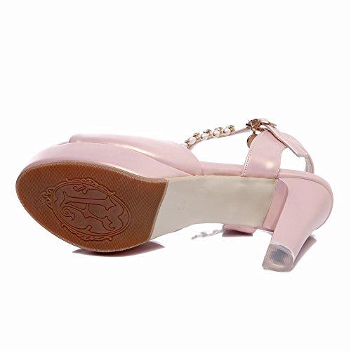 Carolbar Womens Pärlstav Peep Toe Plattform Kedjor Hög Klack Brud Sandaler Rosa