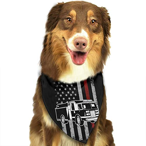 (HJKH PJKL Firefighter American Thin Red Line Fire Truck Pet Dog Puppy Cat Neck Scarf Bandana Collar Neckerchief Mchoice - Any Pets)