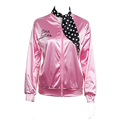 COSFLY Ladies 50S Grease T Bird Danny Pink Satin Jacket Halloween Cosplay Costume with Neck Scarf