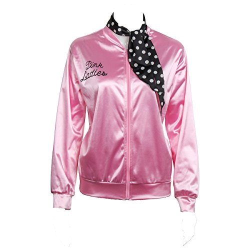 COSFLY Ladies 50S Grease T Bird Danny Pink Satin Jacket Halloween Cosplay Costume with Neck Scarf (Large) -