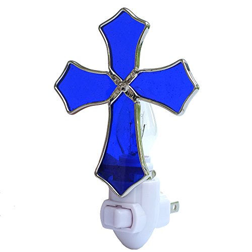 (Plug in Night Light,COOWIND Stained Glass Religion Cross Night Light for Kids, Home Decoration, Baptism Gift (Blue) )