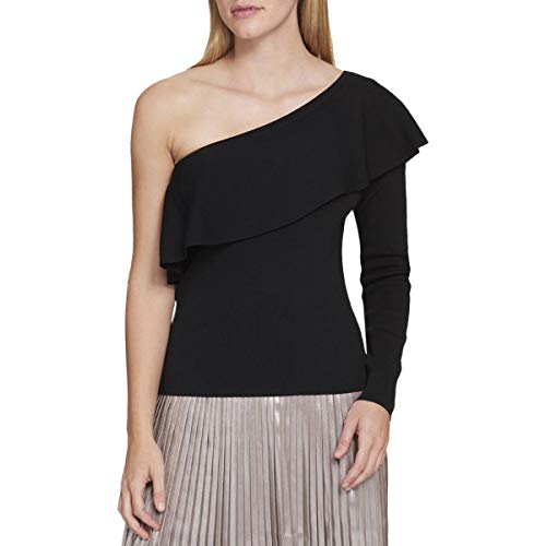 (Tommy Hilfiger Womens Flounce One Shoulder Casual Top Black L)