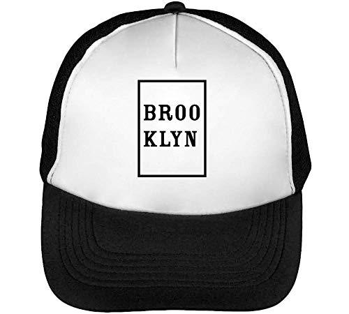 Negro Brooklyn Beisbol Snapback Gorras Blanco Hombre qwwaIU