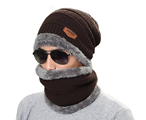 Wicky LS - Gorro de punto - para hombre Dark Coffee hat and neckchief