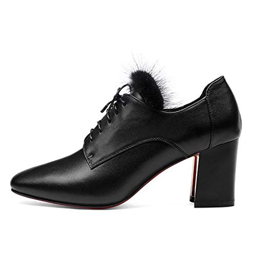 Orteil Chaussures Bout Haut 459 Automne Black Talon à Escarpins véritable MSM4 Bas épais Dames Cuir Talon en wvqOHSP