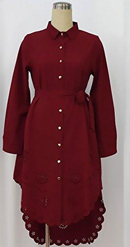 Autunno Eleganti Manica Lunga Vintage Vestito Puro Fori Rosso Irregolare Camicie Revers Con Moda Stlie Size Plus Donna Camicia Classiche Casual Grazioso Colore Blusa Cinghie SqIwtYE5x