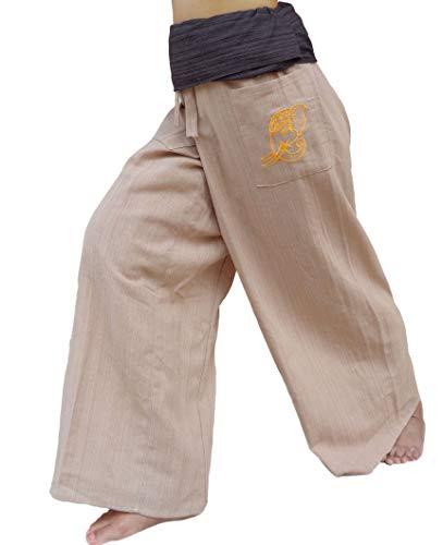 (PUFA : 2 Tone Thai Fisherman Pants Yoga Trousers, a Waist up to 70