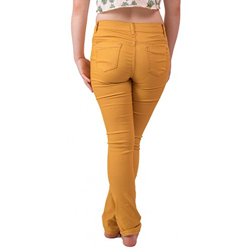 Jaune Coupe Haute Jean Taille Moutarde Slim Moutarde Primtex Stretch Femme ESHwBBq