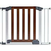 Munchkin Auto Close Modern Baby Gate, Dark Wood/Silver Metal, Model MK0094-011