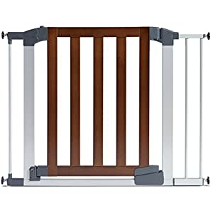 Munchkin Auto Close Modern Baby Gate, Dark Wood/Silver Metal, Model 46764