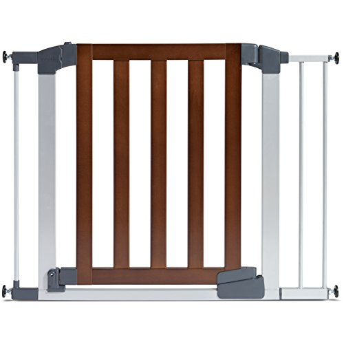 Gate Professional - Munchkin Auto Close Modern Baby Gate, Dark Wood/Silver Metal, Model 46764