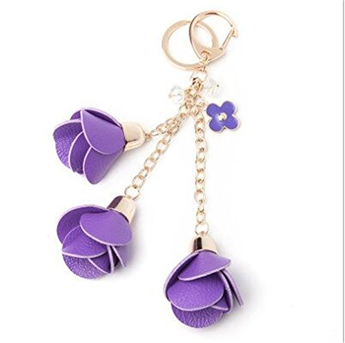 MOONER Leather Rose Flower Keychain Cute Keychain Female Bag Pendant Jewelry Purple