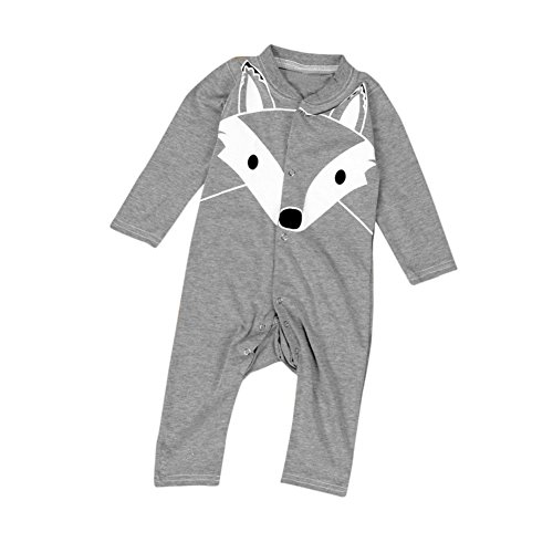 [Misaky Baby Boys Girls Cartoon Print Romper Outfits (12M, Gray)] (Baby Fox Costumes For Infants)