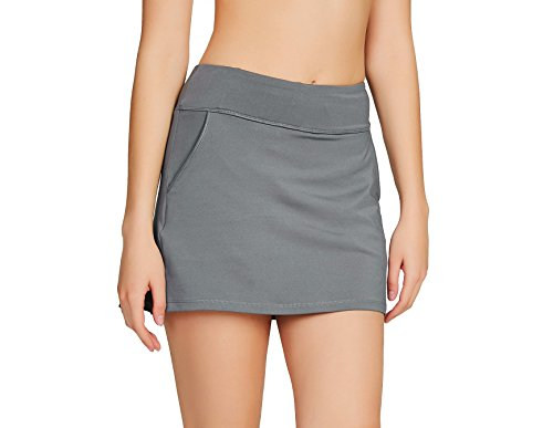 Cityoung Women's Golf Pleated Flat Skort with Pockets (Junior Golf Shorts)