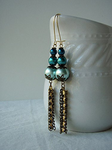 Mixed Blue Graduated Faux Pearl Glass Beaded Earrings w/Tassel Chains & Rhinestone Cupchain - Faux Baroque Pearl Earrings