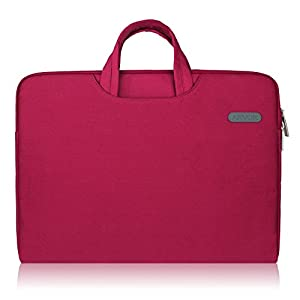Arvok 15 15.6 16 Inch Water-resistant Canvas Fabric Laptop Sleeve With Handle & Zipper Pocket/Notebook Computer Case/Ultrabook Tablet Briefcase Carrying Bag/Pouch Skin Cover For Acer/Asus, Wine Red