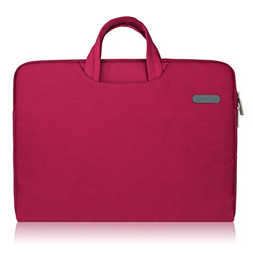 Arvok 15 15.6 16 Inch Water-resistant Canvas Fabric Laptop Sleeve With Handle&Zipper Pocket/Notebook Computer Case/Ultrabook Briefcase Carrying Bag/Pouch Cover For Acer/Asus/Dell/Lenovo/HP,Wine Red (Laptop Bag With Handle)