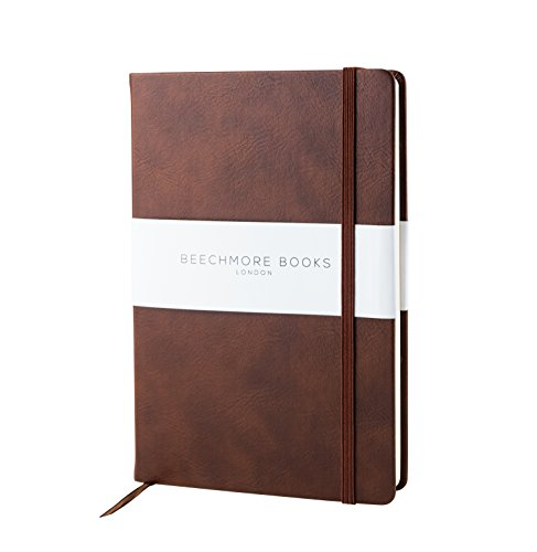 Premium British Notebook/Notepad - Beechmore Books A5 Notebook, 120 gsm cream paper, Vegan Leather, Hardcover Journal in Gift Box (Chestnut Brown, - Notepad Leather Journal
