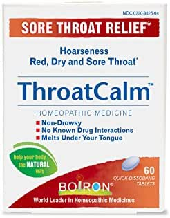 Boiron Throatcalm Tablets for Sore Throat Relief, 60 Count (Pack of 1)