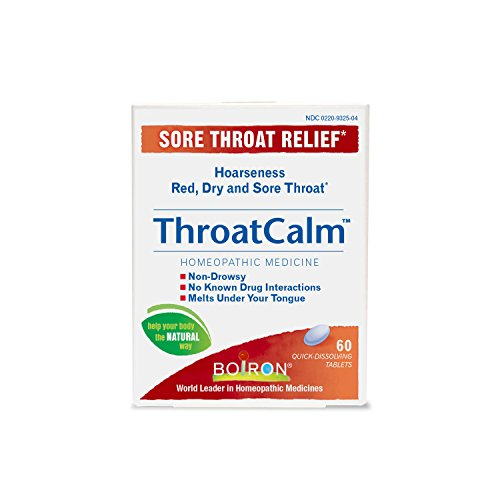 Tab Throat Sore 60 (Boiron Throatcalm, 60 Tablets, Homeopathic Medicine for Temporary Sore Throat Relief, Quck Dissolve Tablets, Non-Drowsy)