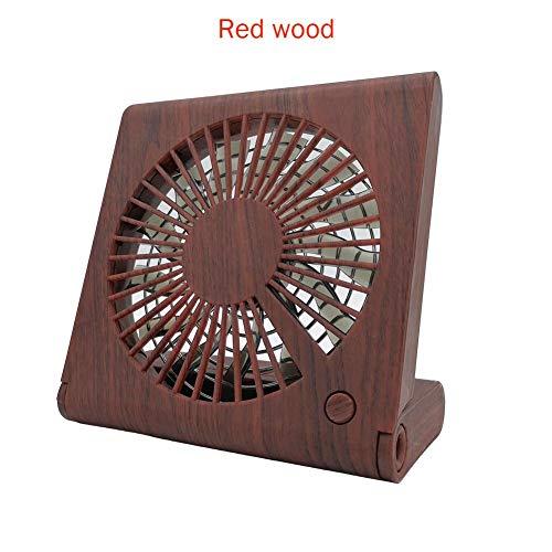 (Wood Grain Notebook Desktop Fan,Mini Portable Folding Handheld USB Fan Office Student Dormitory Desk Fan)
