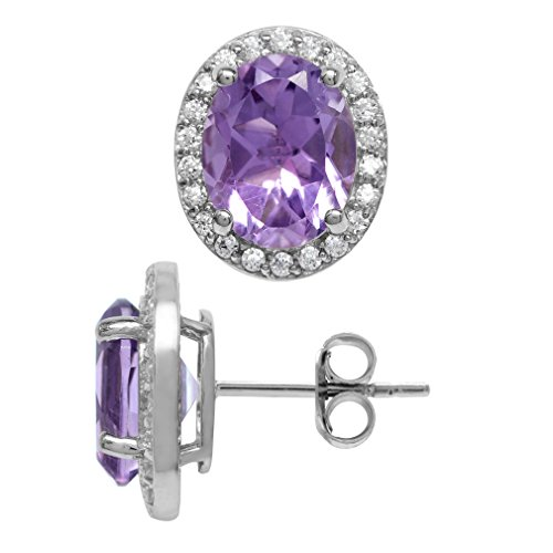 9x7 Oval Earrings (3.46ct. 9x7MM Natural Oval Shape Amethyst 925 Sterling Silver Halo Stud Earrings)