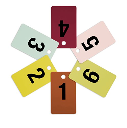 Mark Bric 8-FRT1-6 Fitting Room Tags, Includes Numbers 1-6 in Various Colors, 10 of Each Size (Pack of 60) ()