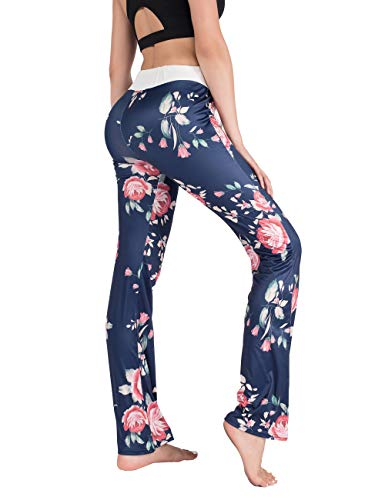 DrKr Floral Printed Yoga Pants for Women High Waist Workout Casual Loose Lounge Wide Leg Leggings Flower - Pants Yoga Printed
