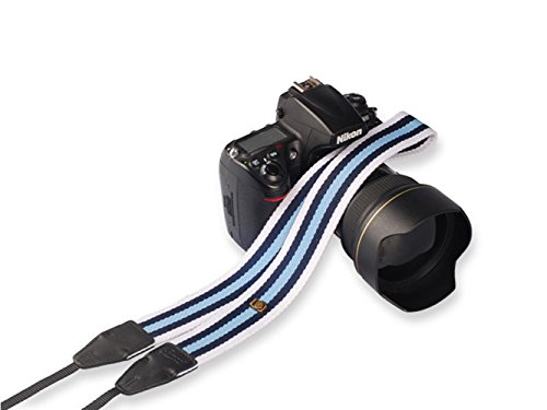 Mavota Blue White Stripe Nylon Camera Shoulder Neck Strap Camera Belt For Canon Nikon Olympus Panasonic Pentax Sony DSLR Digital Cameras - Polaroid Camera S1