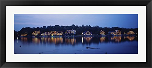Philadelphia Boathouse Row - Boathouse Row lit up at dusk, Philadelphia, Pennsylvania by Panoramic Images Framed Art Print Wall Picture, Black Frame with Hanging Cleat, 33 x 15 inches