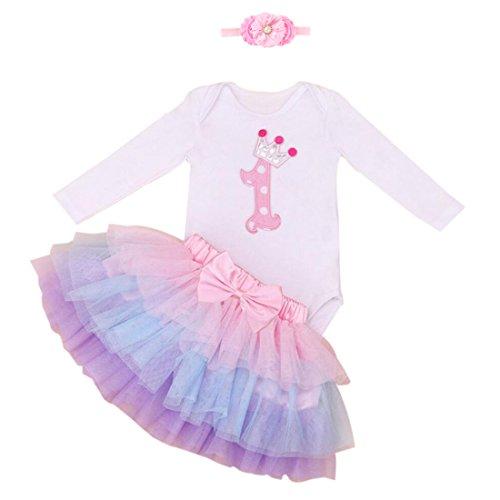 Marlegard Baby Girls' 3PCs Pink 1st Birthday Jumpsuit Tutu Skirt Headband Outfits (12M(9-12months), (1st Birthday Outfit)