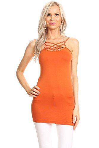 La Vie Design Criss Cross Bralette Crop Top For Women Sports Cage Tank Top (One Size, - Cross Criss Orange