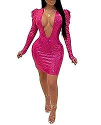 Pink Sequin V Neck Puff Long Sleeve Solid Sequins Dress