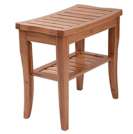 Amazon.com: Bamboo Shower Chair Seat Bench With Storage Shelf ...