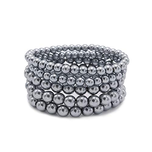 T-Doreen 5 Row Grey Pearl Bracelet Set for Women Girl Beaded Stretch Strand Bracelet]()